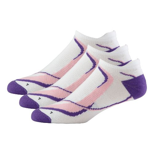 Womens Road Runner Sports Dryroad Simple & Speedy No Show 3 pack Socks - White/Purple ...