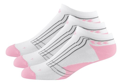 Womens Road Runner Sports Dryroad Simple & Speedy Thin Low 3 pack Socks - Tickled Pink L