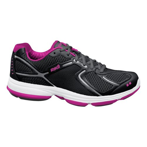Womens Ryka Devotion Walking Shoe - Black/Chrome Silver 6.5