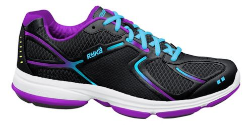 Womens Ryka Devotion Walking Shoe - Black/Detox Blue 6.5