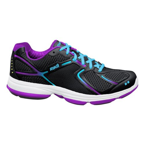 Womens Ryka Devotion Walking Shoe - Black/Detox Blue 7.5