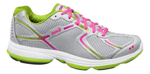 Womens Ryka Devotion Walking Shoe - Chrome Silver/Lime Blaze 8