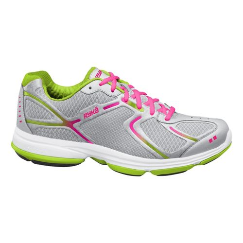 Womens Ryka Devotion Walking Shoe - Chrome Silver/Lime Blaze 8.5