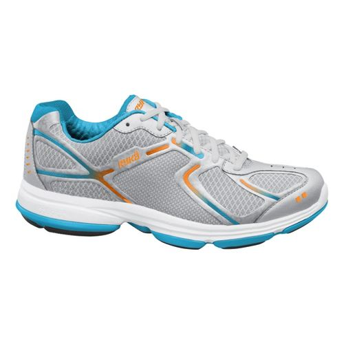 Womens Ryka Devotion Walking Shoe - Chrome Silver/Nirvana Blue 6.5