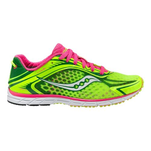 Womens Saucony Grid Type A5 Racing Shoe - Citron/Pink 10.5