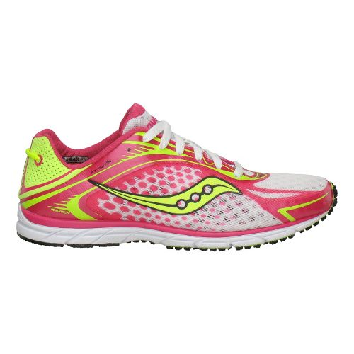 Womens Saucony Grid Type A5 Racing Shoe - Pink/Citron 7.5