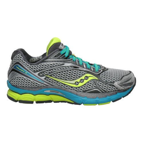 Womens Saucony PowerGrid Triumph 9 Running Shoe - Silver/Citron 8.5