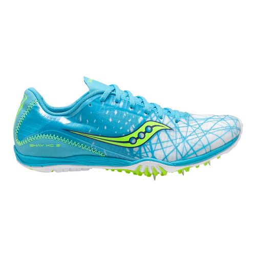 Womens Saucony Shay XC3 Spike Cross Country Shoe - Blue/Citron 8.5