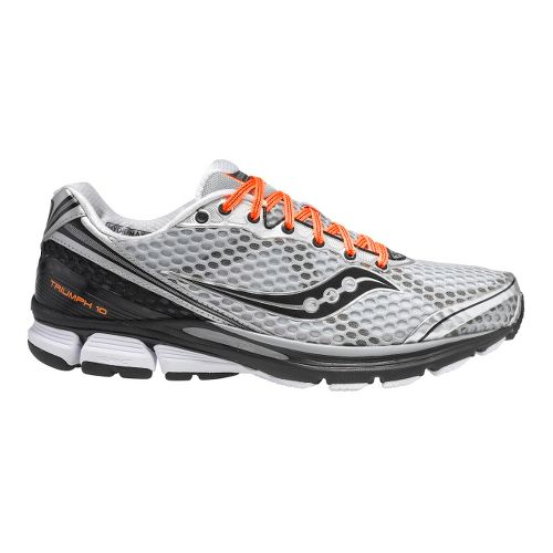 Mens Saucony PowerGrid Triumph 10 Running Shoe - Silver/Black 12.5