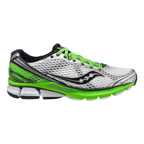 Mens Saucony PowerGrid Triumph 10 Running Shoe - White/Green 12.5