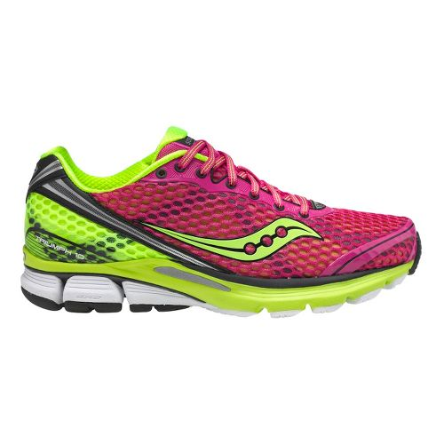 Womens Saucony PowerGrid Triumph 10 Running Shoe - Pink/Citron 10.5