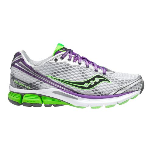 Womens Saucony PowerGrid Triumph 10 Running Shoe - Silver/Purple 10.5