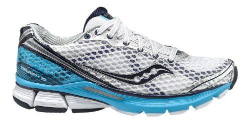 Womens Saucony PowerGrid Triumph 10 Running Shoe - White/Blue 5