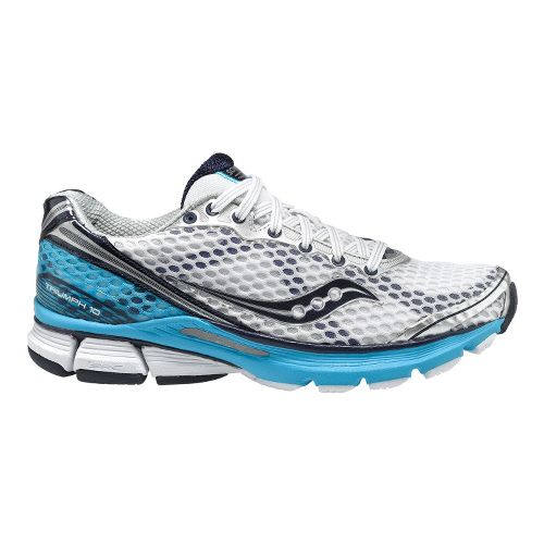 Womens Saucony PowerGrid Triumph 10 Running Shoe - White/Blue 10.5
