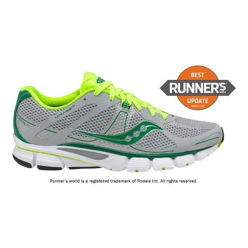 Mens Saucony ProGrid Mirage 3 Running Shoe - Grey/Green 12.5