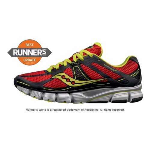 Mens Saucony ProGrid Mirage 3 Running Shoe - Red/Citron 7.5