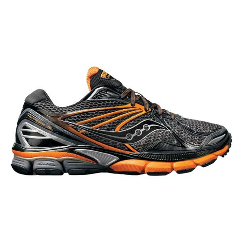 Mens Saucony PowerGrid Hurricane 15 Running Shoe - Black/Orange 12.5