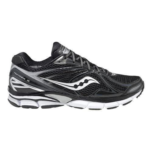 Mens Saucony PowerGrid Hurricane 15 Running Shoe - Black/White 10.5