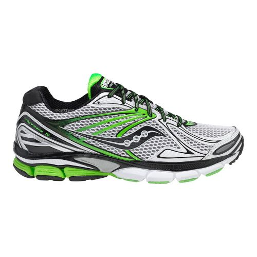 Mens Saucony PowerGrid Hurricane 15 Running Shoe - White/Green 11.5
