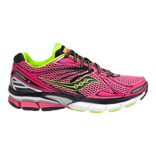 Womens Saucony PowerGrid Hurricane 15 Running Shoe - Pink/Citron 7.5