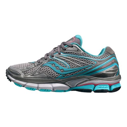 Womens Saucony PowerGrid Hurricane 15 Running Shoe - Silver/Teal 5