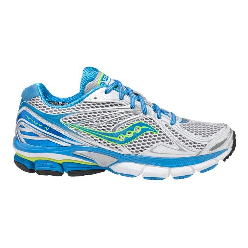 Womens Saucony PowerGrid Hurricane 15 Running Shoe - White/Blue 10