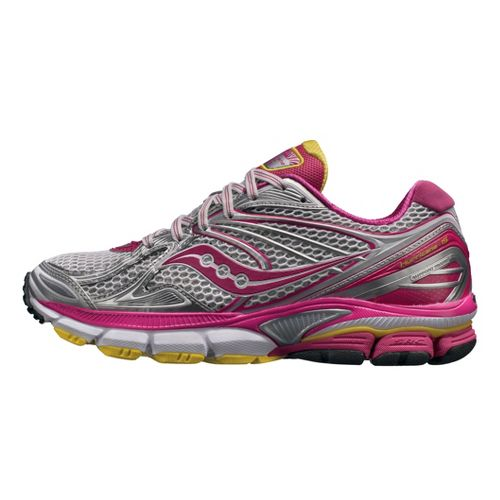 Womens Saucony PowerGrid Hurricane 15 Running Shoe - White/Pink 12
