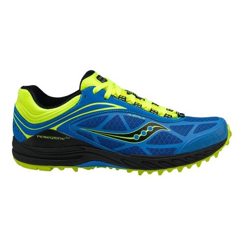 Mens Saucony ProGrid Peregrine 3 Trail Running Shoe - Blue/Citron 10.5