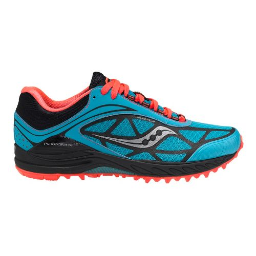 Womens Saucony ProGrid Peregrine 3 Trail Running Shoe - Blue/Coral 8.5