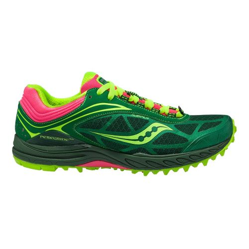 Womens Saucony ProGrid Peregrine 3 Trail Running Shoe - Green/Citron 11