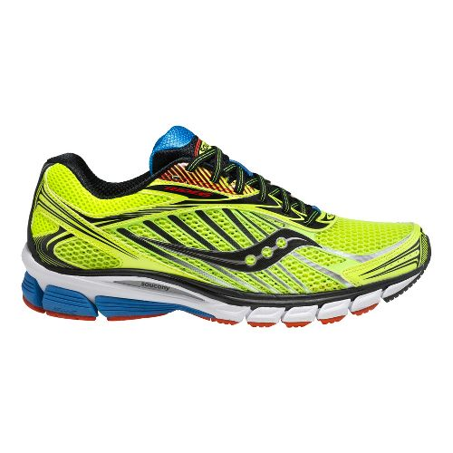 Mens Saucony Ride 6 Running Shoe - Citron/Red 12.5