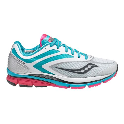 Womens Saucony Cortana 3 Running Shoe - White/Blue 5