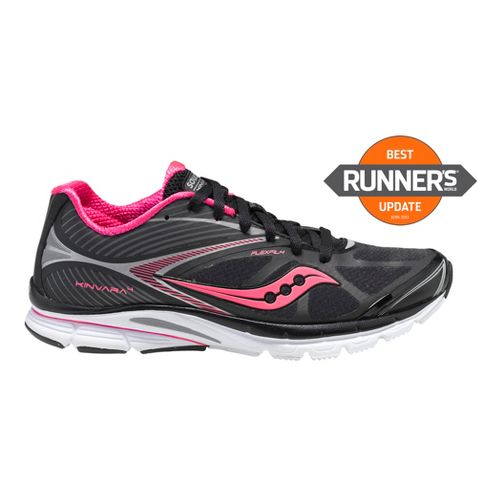 Womens Saucony Kinvara 4 Running Shoe - Black/Pink 9