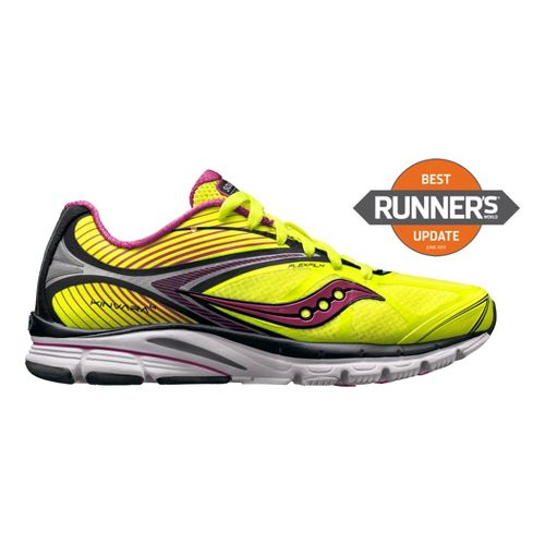 Womens Saucony Kinvara 4 Running Shoe - Citron/Pink 10.5