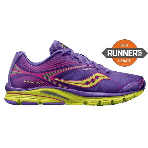 Womens Saucony Kinvara 4 Running Shoe - Purple/Citron 7