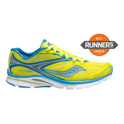 Womens Saucony Kinvara 4 Running Shoe - Yellow/Blue 5.5