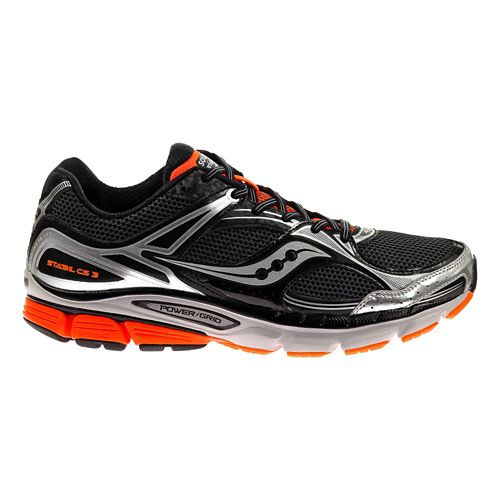 Mens Saucony Stabil CS3 Running Shoe - Black/Silver 11.5