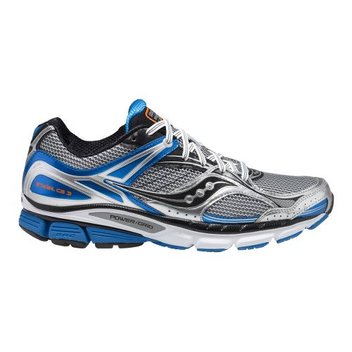 Mens Saucony Stabil CS3 Running Shoe - Silver/Blue 8.5