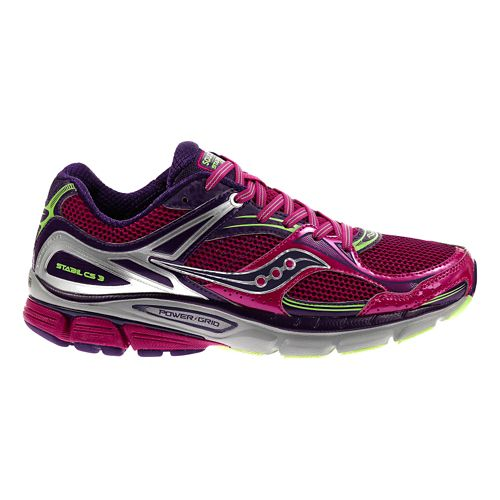 Womens Saucony Stabil CS3 Running Shoe - Berry/Green 11
