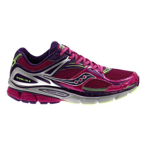 Womens Saucony Stabil CS3 Running Shoe - Berry/Green 9.5