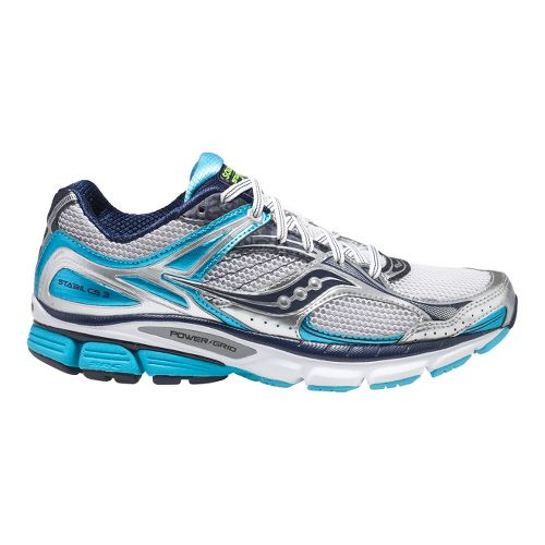 Womens Saucony Stabil CS3 Running Shoe - White/Blue 8.5