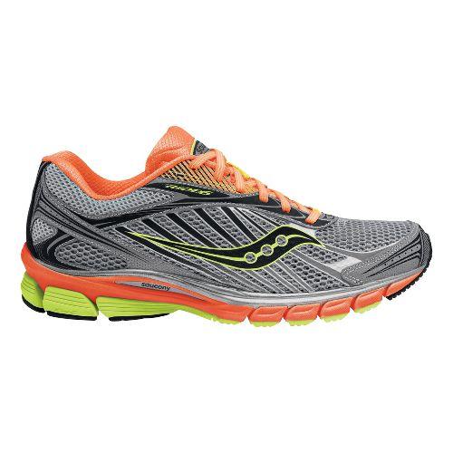Mens Saucony Ride 6 ViZiGLO Running Shoe - Silver/Orange 10.5