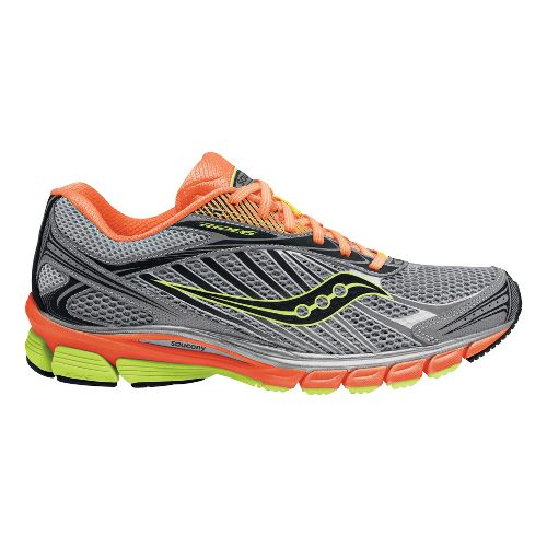 Mens Saucony Ride 6 ViZiGLO Running Shoe - Silver/Orange 12