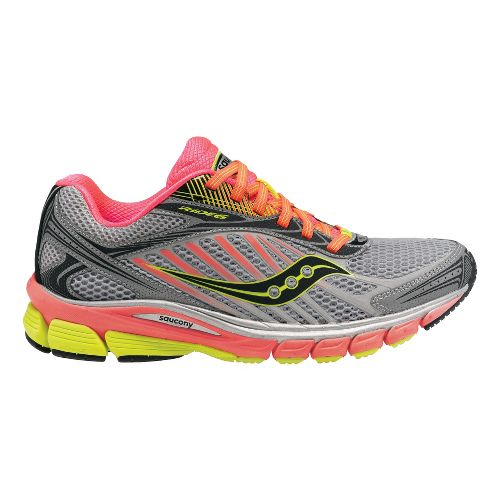 Womens Saucony Ride 6 ViZiGLO Running Shoe - Silver/Coral 8