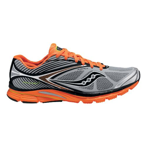 Mens Saucony Kinvara 4 ViZiGLO Running Shoe - Silver/Orange 12.5