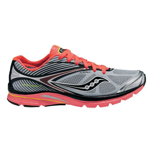 Womens Saucony Kinvara 4 ViZiGLO Running Shoe - Silver/Coral 9.5