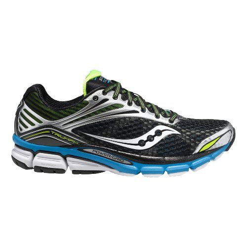 Mens Saucony Triumph 11 Running Shoe - Black/Blue Citron 12