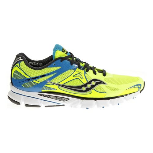 Mens Saucony Mirage 4 Running Shoe - Citron/Blue 12.5