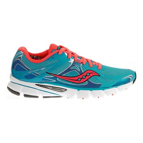 Womens Saucony Mirage 4 Running Shoe - Blue/Vizipro Coral 7.5