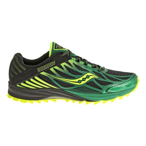 Mens Saucony Peregrine 4 Trail Running Shoe - Black/Green 12